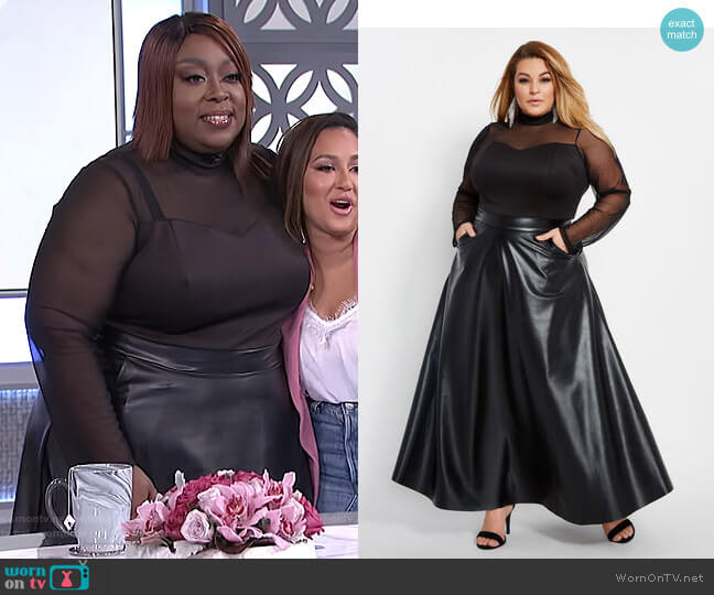 Faux Leather Mesh Top Maxi Dress by Ashley Stewart worn by Loni Love  on The Real