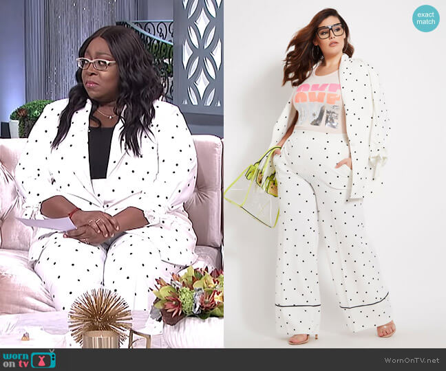 Polka Dot Blazer With Ruched Sleeve and Pant by Ashley Stewart worn by Loni Love  on The Real