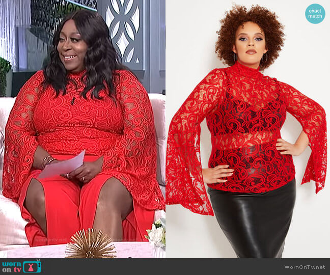 Split Sleeve Lace Mock Neck Top by Ashley Stewart worn by Loni Love  on The Real