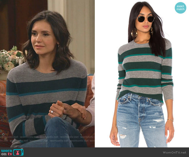 Rugby Stripe Sweater by Autumn Cashmere worn by Clem (Nina Dobrev) on Fam