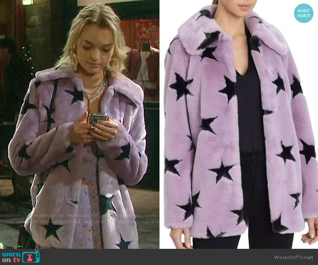Avec Les Filles Faux Fur Coat worn by Claire Brady (Olivia Rose Keegan) on Days of our Lives