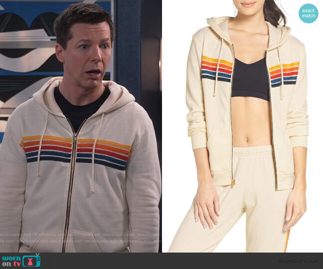 5-Stripe Zip Hoodie by Aviator Nation worn by Jack McFarland (Sean Hayes) on Will & Grace