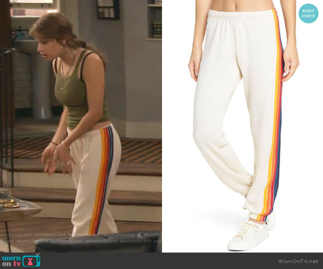 5 Stripe Sporty Jogger Sweatpants by Aviator Nation worn by Shannon (Odessa Adlon) on Fam