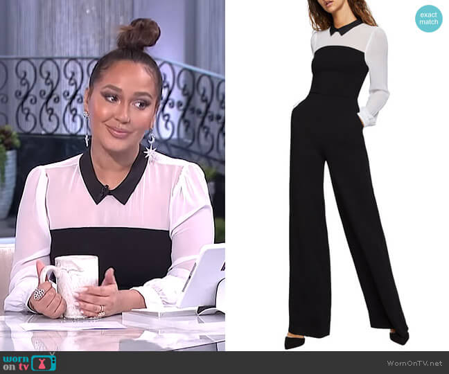 Collared Twofer Shirt Wide-Leg Jumpsuit by BCBGeneration worn by Adrienne Houghton  on The Real