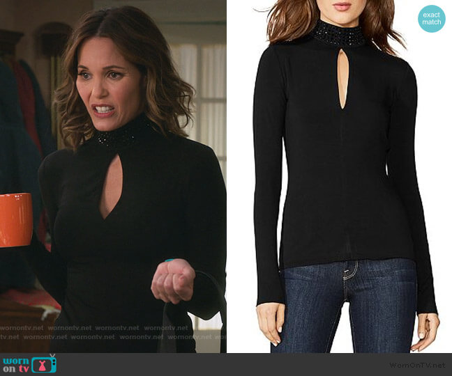 Keyhole Embellished Top by Bailey 44 worn by Leslie Bibb on American Housewife
