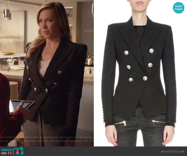 Balmain Classic Double-Breasted Wool Blazer worn by Laurel Lance (Katie Cassidy) on Arrow