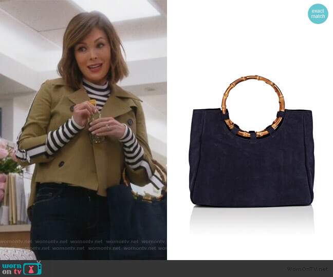 Bamboo-Trimmed Suede Tote Bag by Barneys New York worn by Camille (Lindsay Price) on Splitting Up Together