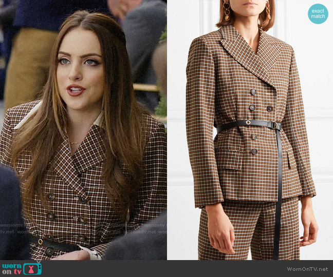 Chloe Belted double-breasted checked woven blazer worn by Fallon Carrington (Elizabeth Gillies) on Dynasty