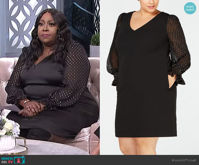 Plus Size Illusion-Sleeve Dress by Betsey Johnson worn by Loni Love (Loni Love) on The Real