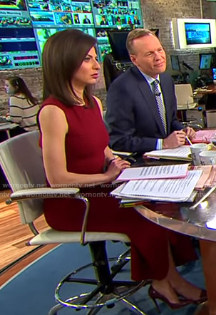Bianna's red sleeveless midi dress on CBS This Morning