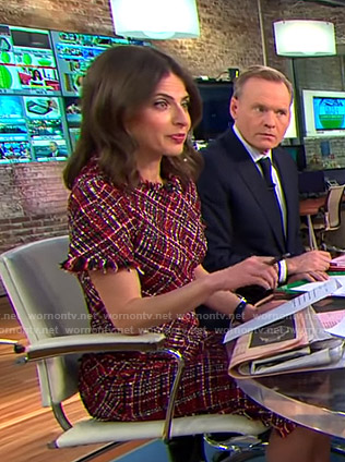 Bianna's red tweed dress on CBS This Morning