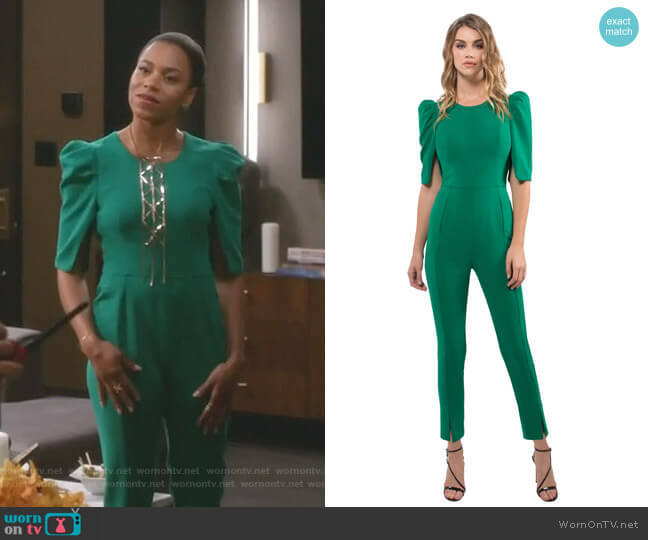 Russo Jumpsuit by Black Halo worn by Maggie Pierce (Kelly McCreary) on Greys Anatomy