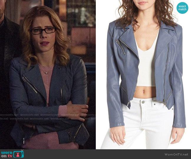 Blank NYC Faux Leather Moto Jacket  worn by Felicity Smoak (Emily Bett Rickards) on Arrow