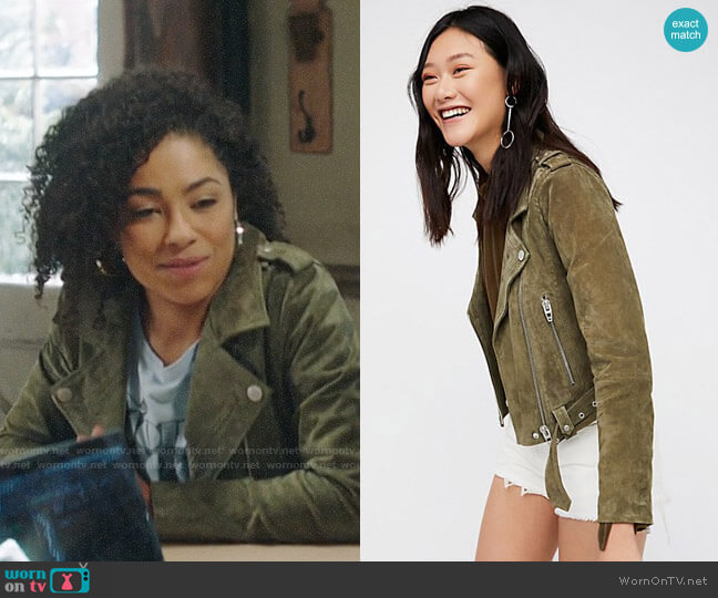 Blank NYC Suede Moto Jacket worn by Nia (Victoria Janicki) on God Friended Me