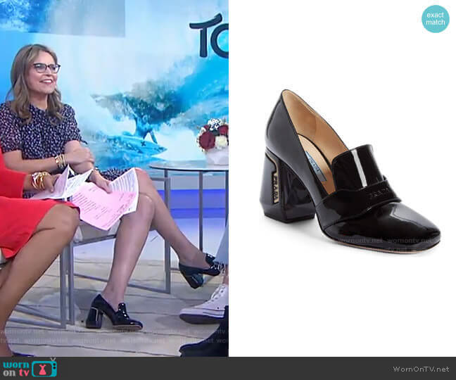 Block Heel Loafer Pump by Prada worn by Savannah Guthrie  on Today