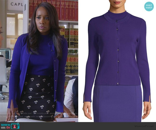 Feliza Fine Knit Ribbed Cardigan by BOSS worn by Michaela Pratt (Aja Naomi King) on HTGAWM