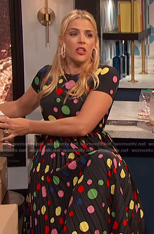 Busy's rainbow polka dot dress on Busy Tonight