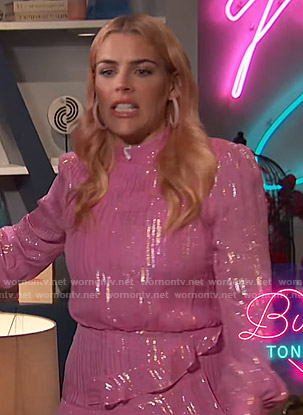 Busy's pink metallic ruffled dress on Busy Tonight