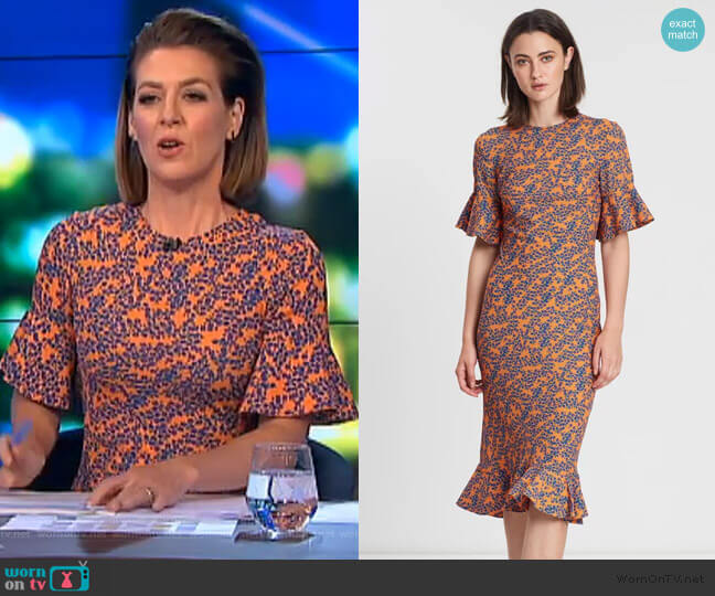 Mango Blooms Frill Tee Dress by By Johnny. worn by Gorgi Coghlan  on The Project