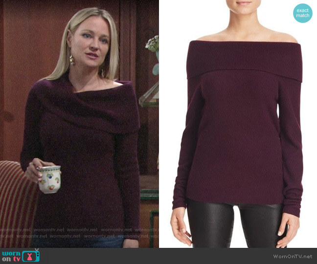 C by Bloomingdale's Off-The-Shoulder Cashmere Sweater worn by Sharon Collins (Sharon Case) on The Young & the Restless