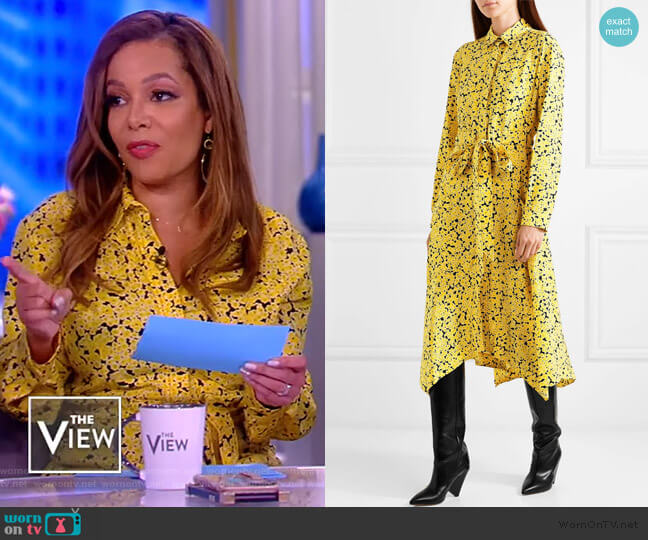 Asymmetric floral-print silk crepe de chine midi dress by Cedric Charlier worn by Sunny Hostin (Sunny Hostin) on The View