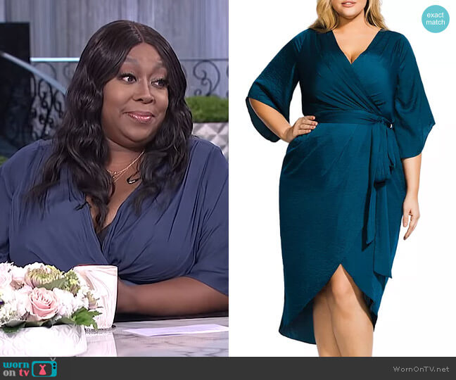Opulent Faux-Wrap Midi Dress by City Chic Plus worn by Loni Love  on The Real