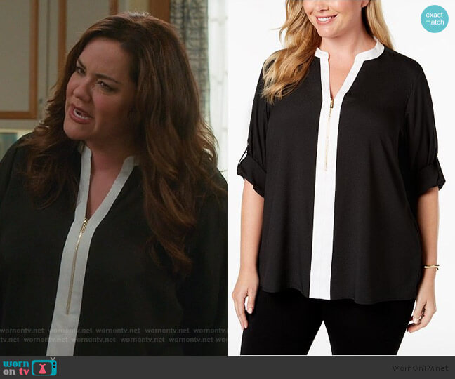 Two-Tone Zip Blouse by Calvin Klein worn by Katie Otto (Katy Mixon) on American Housewife