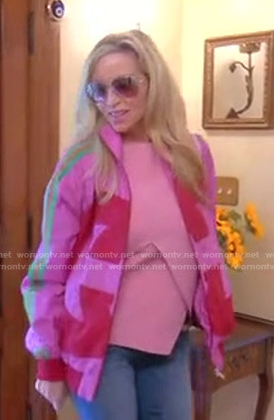 Camille's pink side striped jacket and Gucci backpack on The Real Housewives of Beverly Hills