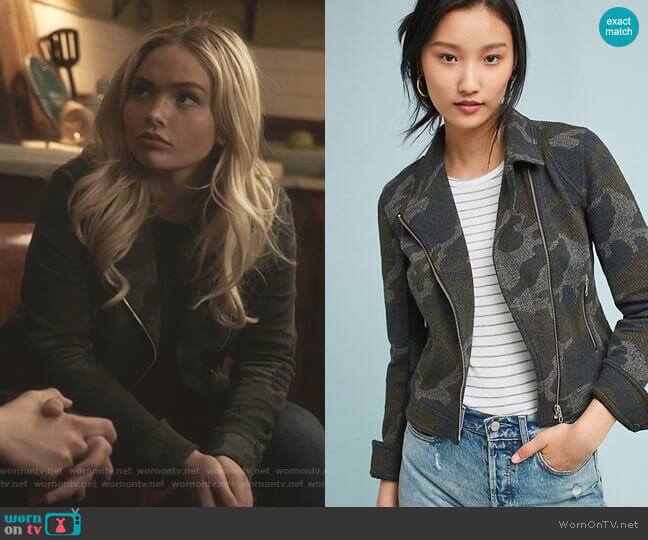 Camo Moto Jacket by Anthropologie worn by Lauren Strucker (Natalie Alyn Lind) on The Gifted