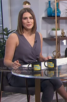 Carissa's grey tie waist wrap jumpsuit on E! News Daily Pop