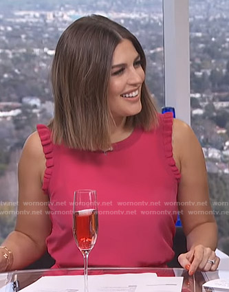 Carissa's pink ruffled crew-neck top on E! News