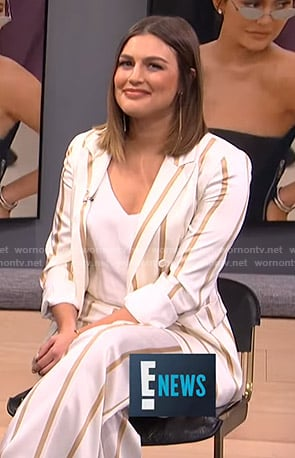 Carissa's whtie and beige striped suit on E! News