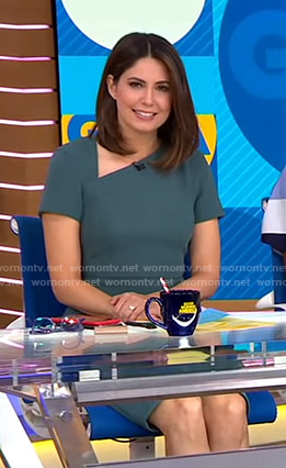 Cecilia's green asymmetric v-neck dress on Good Morning America