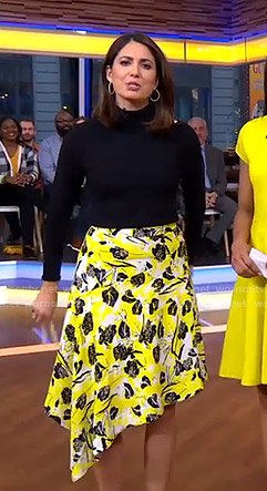 Cecilia's yellow floral asymmetric skirt on Good Morning America