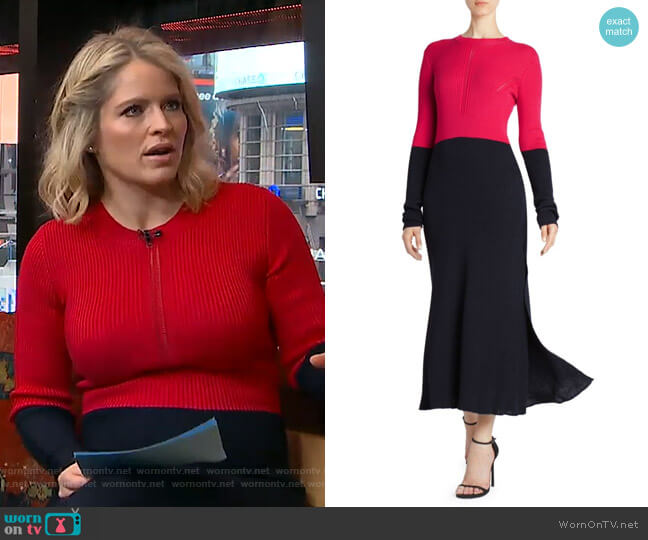 Colorblock Rib-Knit Dress by Cedric Charlier worn by Sara Haines  on Good Morning America