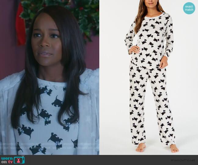 Dog Thermal Fleece Pajamas by Charter Club worn by Michaela Pratt (Aja Naomi King) on HTGAWM