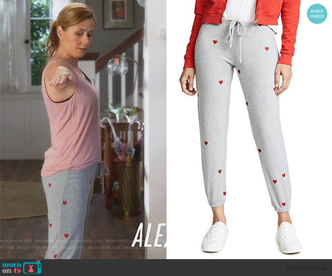 Tiny Heart Toss Sweatpants by Chaser worn by Lena (Jenna Fischer) on Splitting Up Together