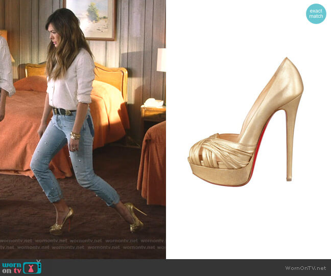 Aborina 150 Metallic Pumps by Christian Louboutin worn by Camille (Lindsay Price) on Splitting Up Together