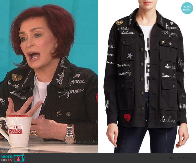 Embroidered Love Letter Canyon Jacket by Cinq a Sept worn by Sharon Osbourne  on The Talk