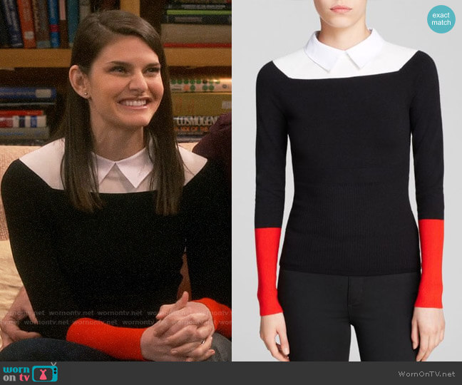 Karen Millen Collared Color Block Sweater worn by Marissa on The Big Bang Theory
