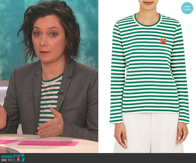 Heart Striped Cotton T-Shirt by Comme Des Garcons Play worn by Sara Gilbert (Sara Gilbert) on The Talk
