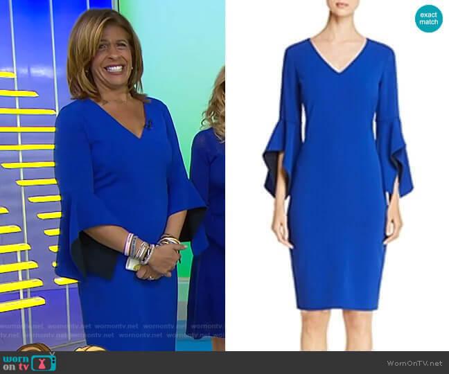 Contrast Bell Sleeve Dress by Badgley Mischka worn by Hoda Kotb (Hoda Kotb) on Today