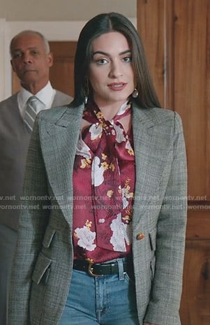 Cristal's red floral tie neck blouse and peak lapel blazer on Dynasty
