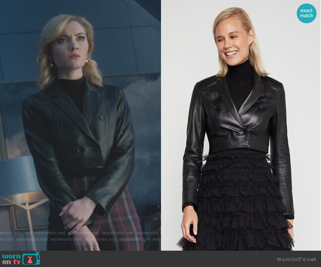 Leather Cropped Jacket by Bcbgmaxazria worn by The Frost Sisters (Skyler Samuels) on The Gifted