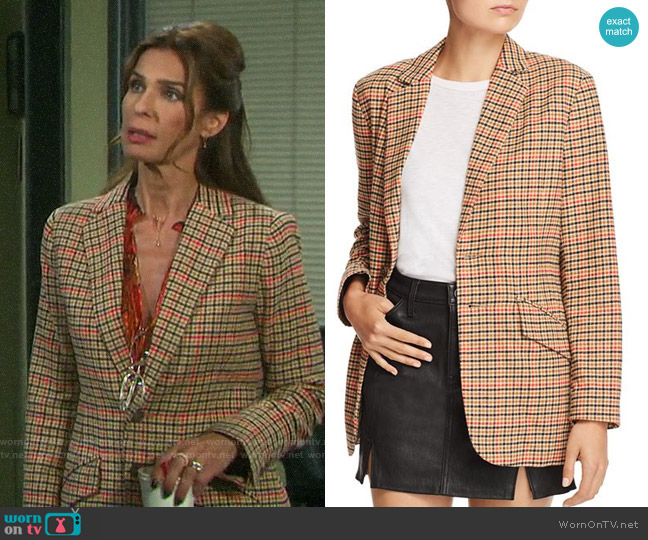 Current/Elliott The Date Night Plaid Blazer  worn by Hope Williams (Kristian Alfonso) on Days of our Lives
