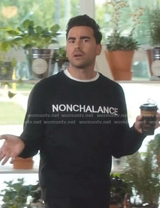 David's black Nonchalance sweatshirt on Schitt's Creek