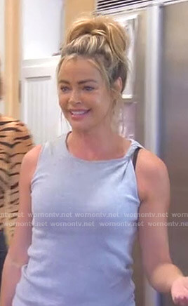 Denise's grey twisted shoulder tank top on The Real Housewives of Beverly Hills