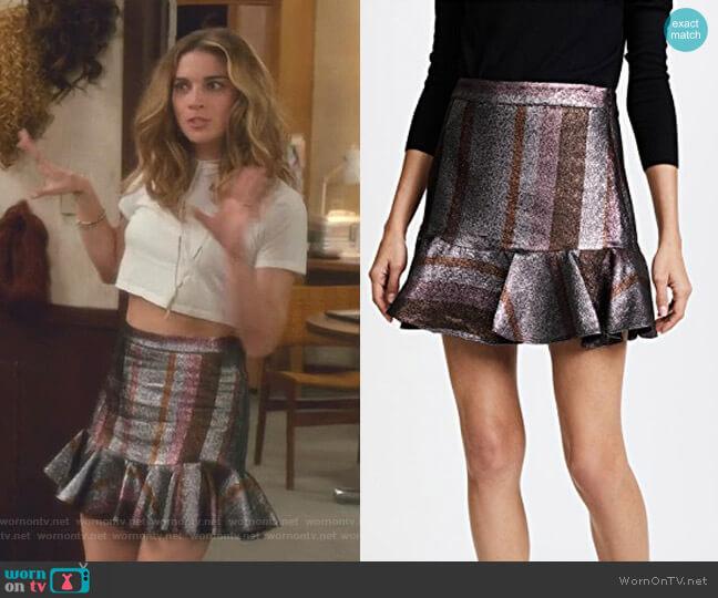 Ruffle Hem Flounce Skirt by Derek Lam 10 Crosby worn by Alexis Rose (Annie Murphy) on Schitts Creek