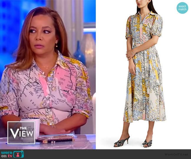 Map-Print Crepe Shirtdress by Derek Lam 10 Crosby worn by Sunny Hostin  on The View