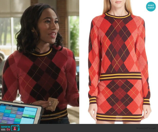 Rag & Bone Dex Argyle Sweater worn by Caitlin Martell-Lewis (Sydney Park) on PLL The Perfectionists